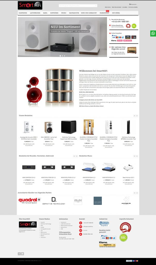 smart-hifi screenshot startseite