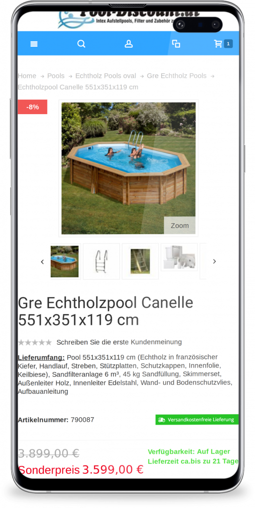 pool-discount mobile mockup